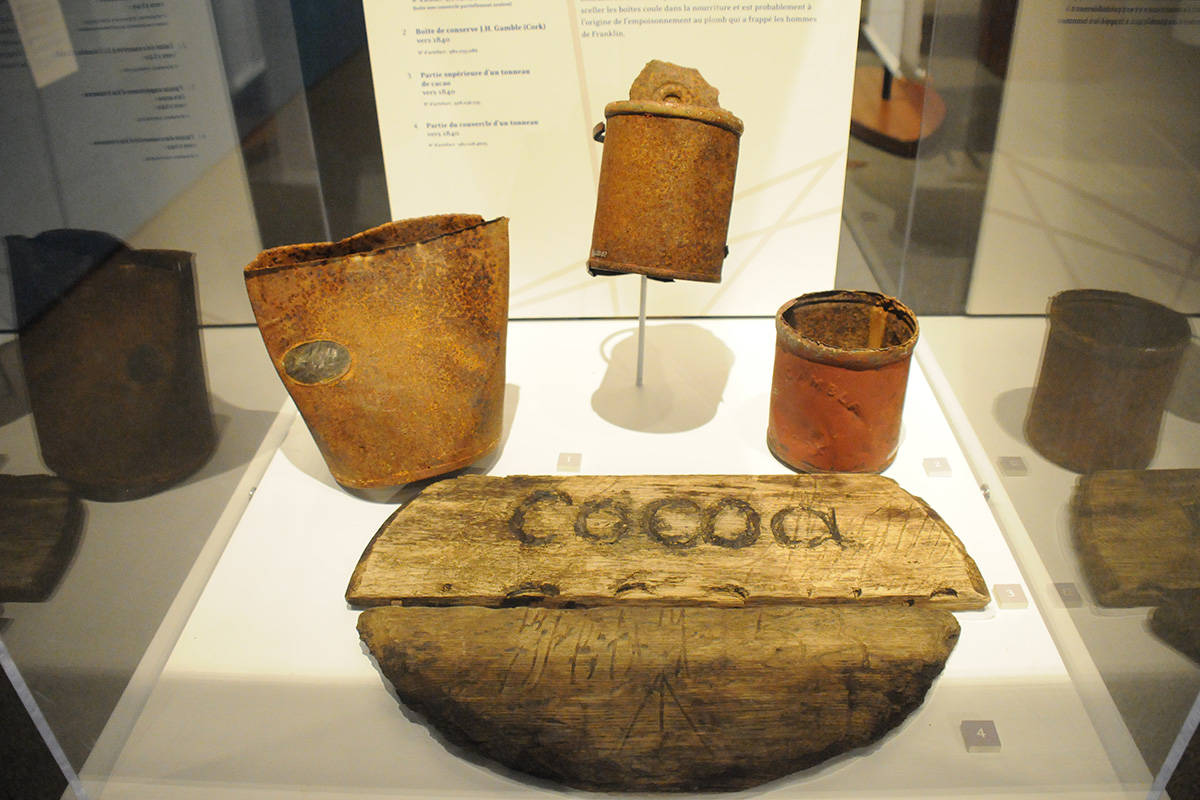 Did canned goods in tins such as these nourish Franklin's sailors? Or did cheap lead solder leach slowly into their food, killing them with lead poisoning? Ask the question at Echoes in the Ice: Finding Franklin's Ship exhibit at the Alberni Valley Museum.                                SUSAN QUINN PHOTO