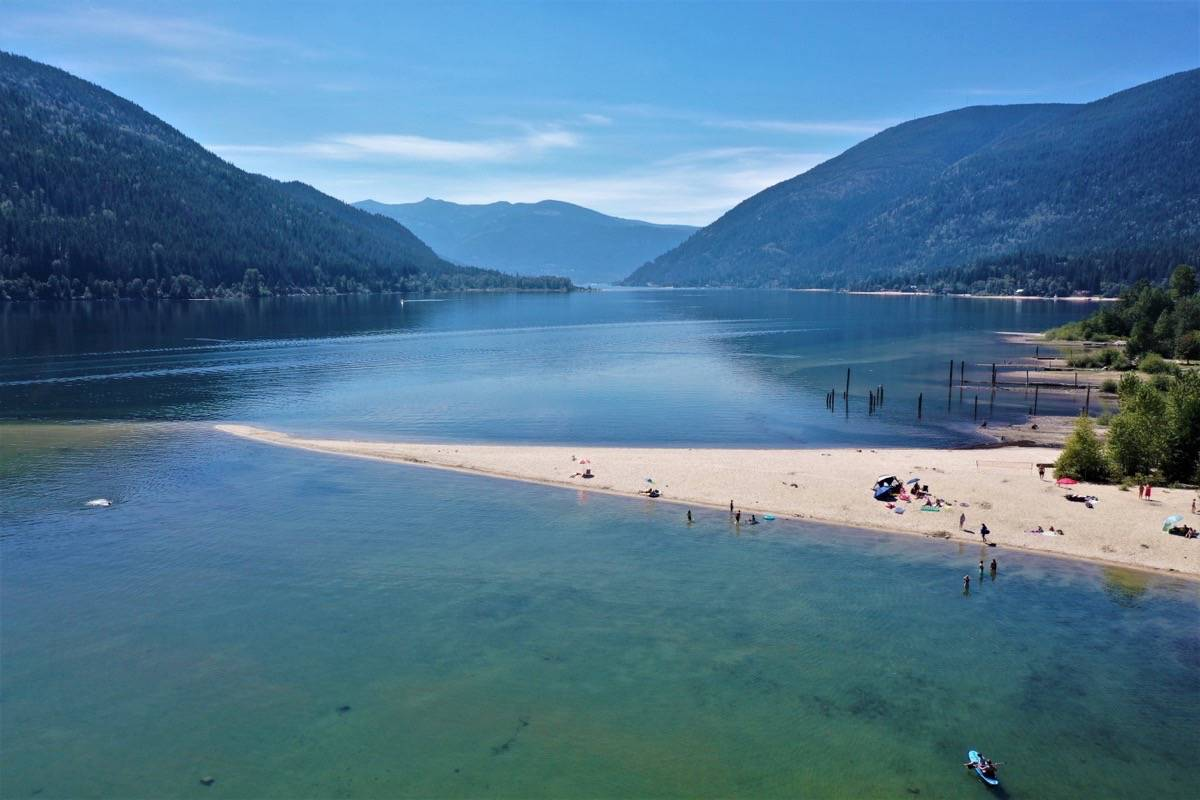 Six Mile's popularity is due to the long sand spit that extends out from the beach into the middle of Kootenay Lake. It was on that spit that a man drowned in July. Photo: David Grantham/Kootenay Drone Services
