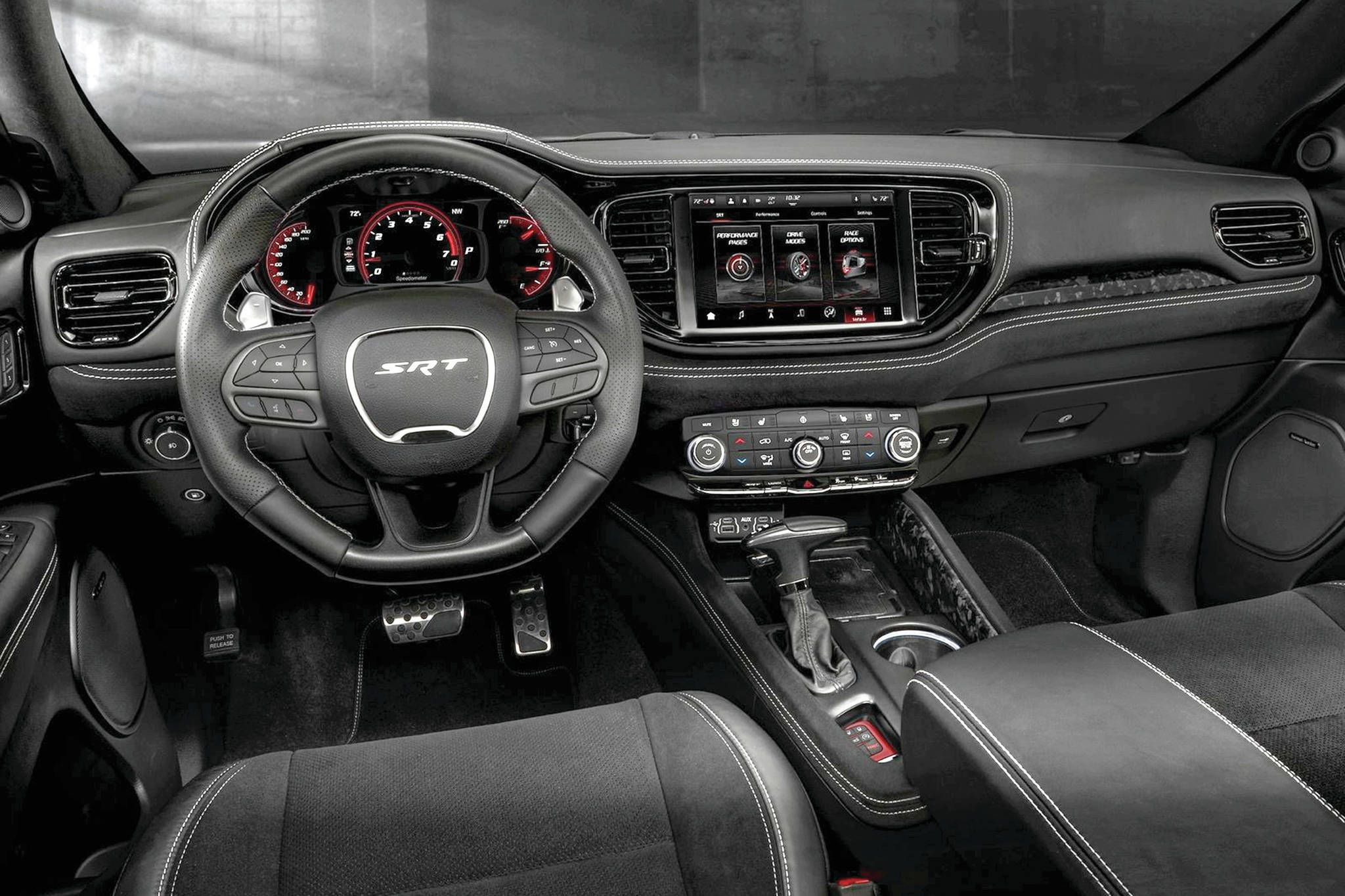Dodge says the Durango's dash layout is driver-centric, like that of the Dodge Challenger, and that the Uconnect infotainment system is five times faster. Note the available 10.1-inch screen. PHOTO: DODGE