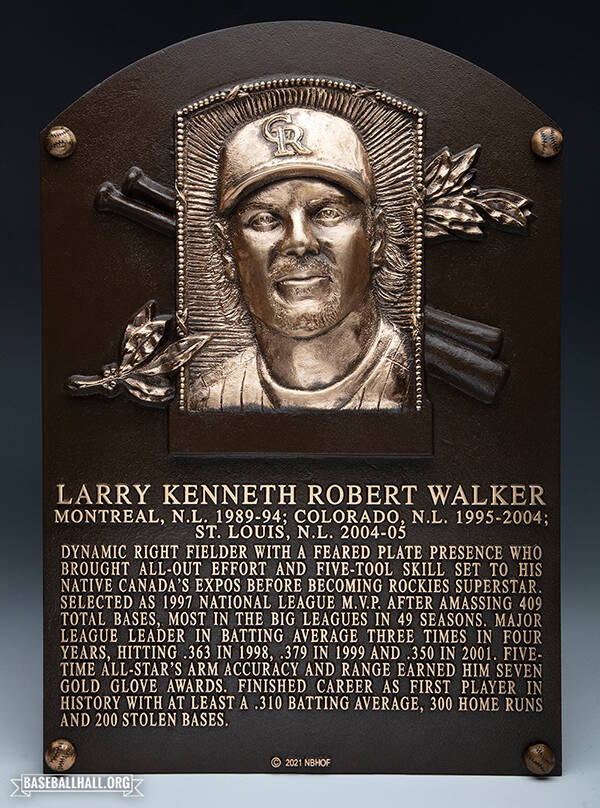 Walker's plaque in the hall. (National Baseball Hall of Fame and Museum Facebook)